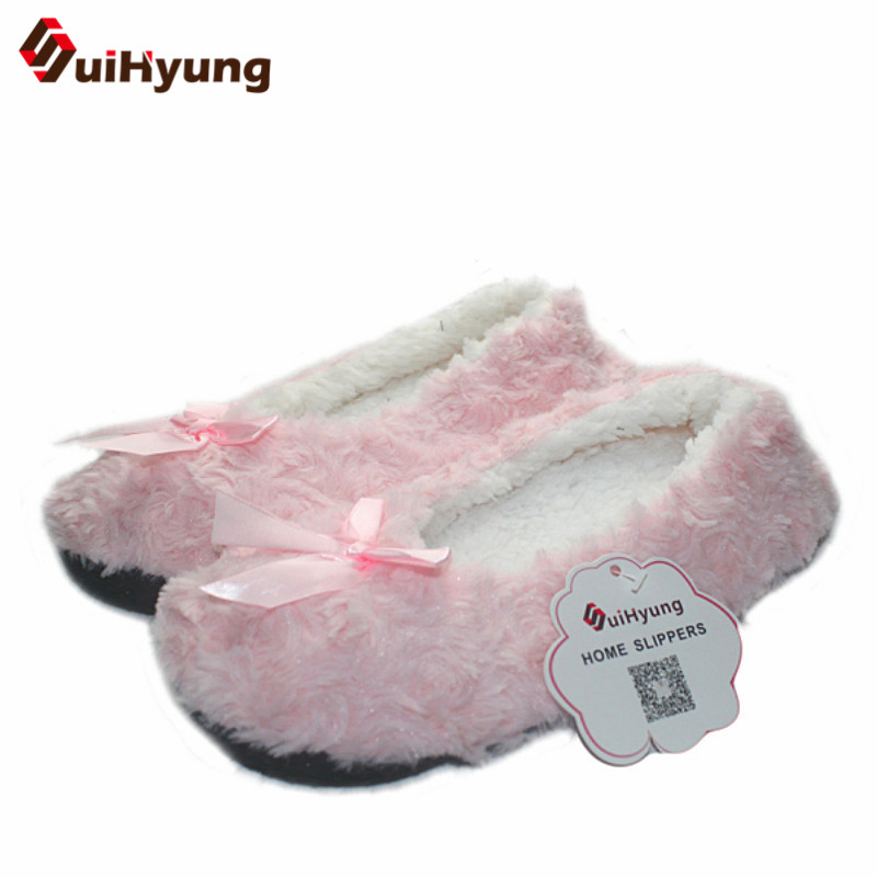 Suihyung Winter Warm Home Women Slippers Cotton Shoes Plush Female Floor Shoes Bowknot Fleece Indoor Shoes Woman Bedroom Slipper tolaitoe new winter warm home women slipper cotton shoes plush female floor shoe bow knot fleece indoor shoes woman home slipper