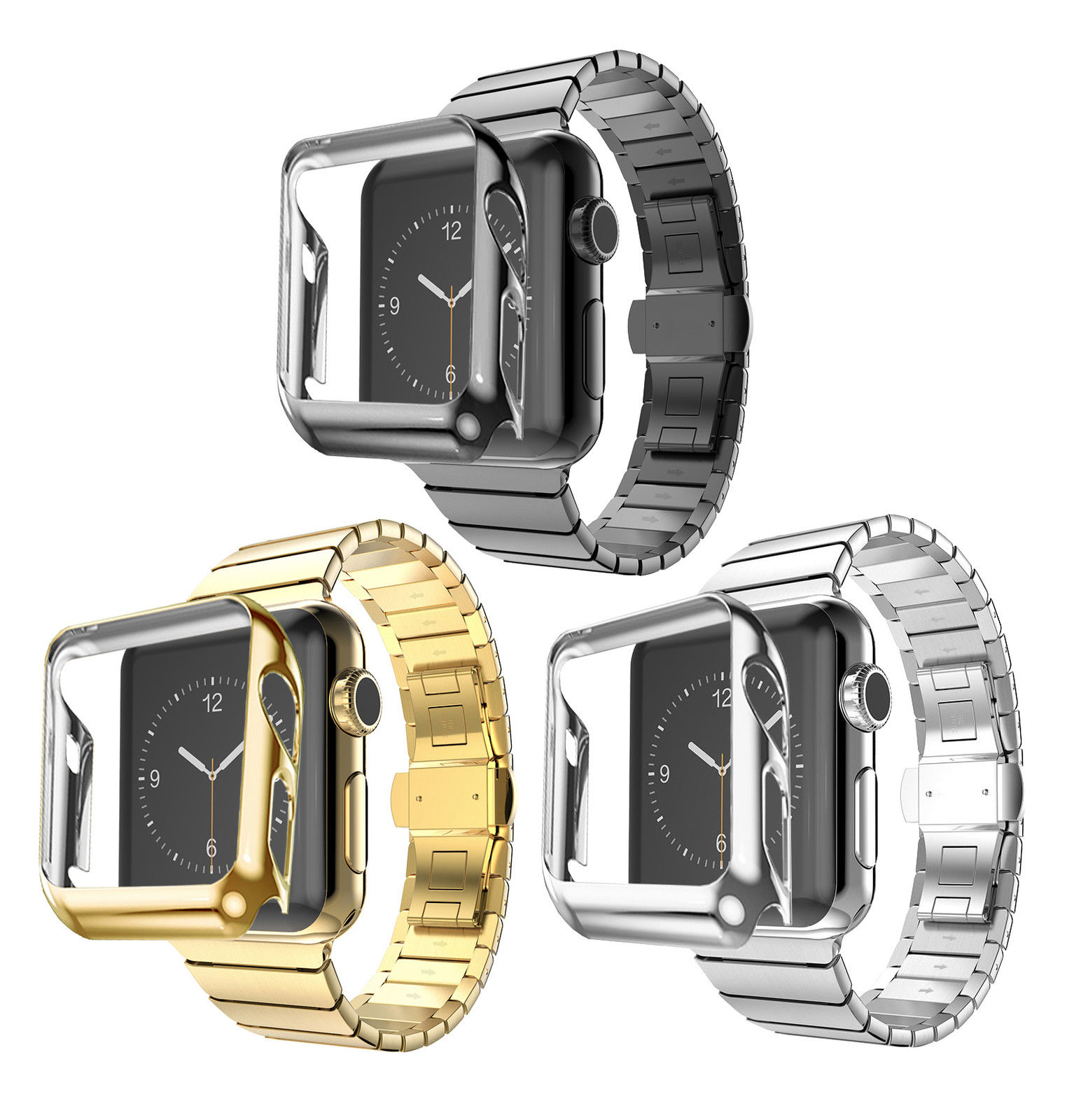 купить Butterfly Buckle Stainless Steel Link Strap For Apple Watch Band Gold Plating Cover Case For Series 2 iWatch 1st 2nd Bracelet недорого