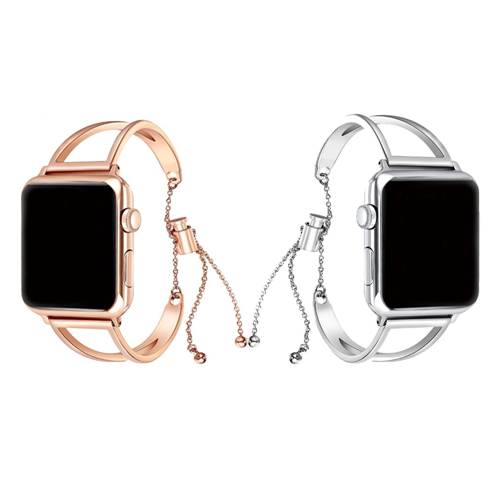 CRETED Strap For Apple Watch band iWatch 4 3 2 42mm/38mm/44mm/40mm correa stainless steel cuff strap girl fashion design chain