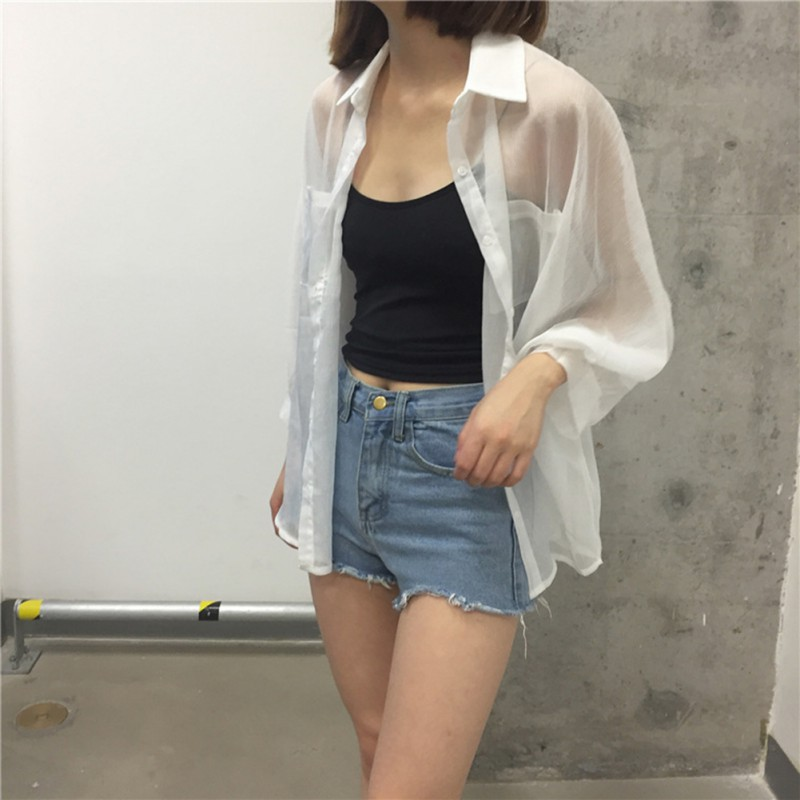 Summer White Women Shirt Cotton Linen Button White Blue Floral Turn-down Collar Transparent Loose Blouse