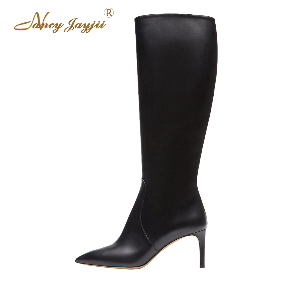Nancyjayjii Women balck Winter Snow Black Pleather Point Toe Knee High Boots Shoes for Woman, botas mujer plus size 5-14 nancyjayjii 2017 fashion lady black suede peep toe high heels ankle boots shoes for woman zapatos botas mujer plus size 5 14