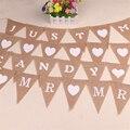 Винтажные товары для праздвечерние, вечеринки, свадьбы, вечеринки в стиле мистер, миссис, флаг из джута, льняной баннер