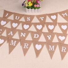 Vintage recién casados Baby Shower corazón MR MRS evento Fiesta suministros país boda Bandera de decoración yute arpillera Lino Banner