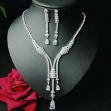 HIBRIDE Funkelnden Bijoux Dubai Schmuck Sets Voller Zirkonia Halskette Set Frauen Hochzeit Braut Party Zeigen Set Großhandel N 1046