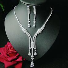 HIBRIDE Sparkling Bijoux Dubai Jewelry Sets Full Cubic Zirconia Necklace Set Women Wedding Bride Party Show Set Wholesale N 1046