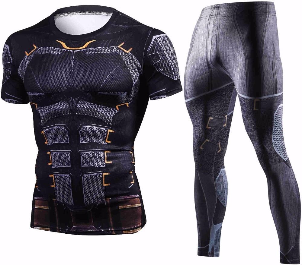 2018 New Summer Batman Short Sleeve Tshirt Men Set Fashion Crossfit Men Tracksuit Brand Tight Sportswear 3D Compression Sets Men