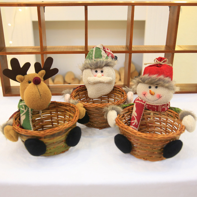 navidad 2018 cartoon originality handmade christmas basket christmas decorations for home candy basket new year table - Christmas Basket Decorations