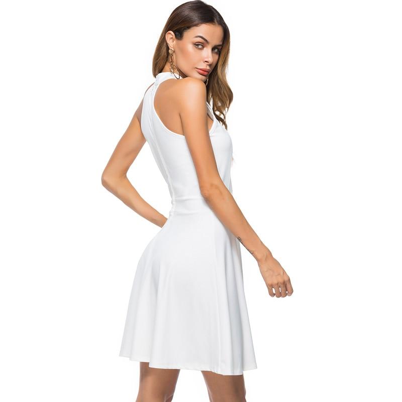 Women Sexy Off Shoulder Skater Dress Elegant Halter Neck Sleeveless White  Black A Line Short Nightclub Cocktail Party Dresses-in Dresses from Women s  ... 837487400