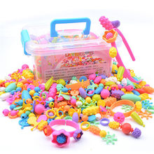 DIY Beads Toys Kids Fashion Toys For Girl Cordless Pop Bracelet Toy Kids Beads Educational Toy For Children(China)