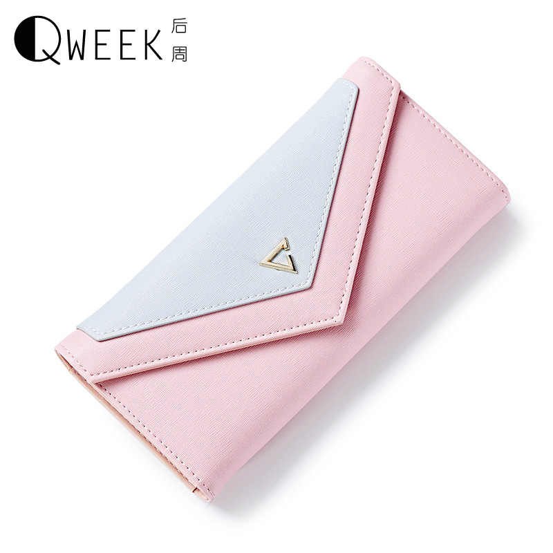 QWEEK Wallet Female Geometric Envelope Clutch Wallet for Women PU Leather Hasp Fashion Wallet for Phone Money Bags Coin Purse weichen new geometric envelope clutch wallet for women pu leather hasp fashion design wallet for phone money bags coin purse