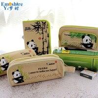 6 Style New Arrival Panda Souvenir Small Fresh Student Canvas Pencil Case Simple Stationery Bag Pencil Bag Set B308
