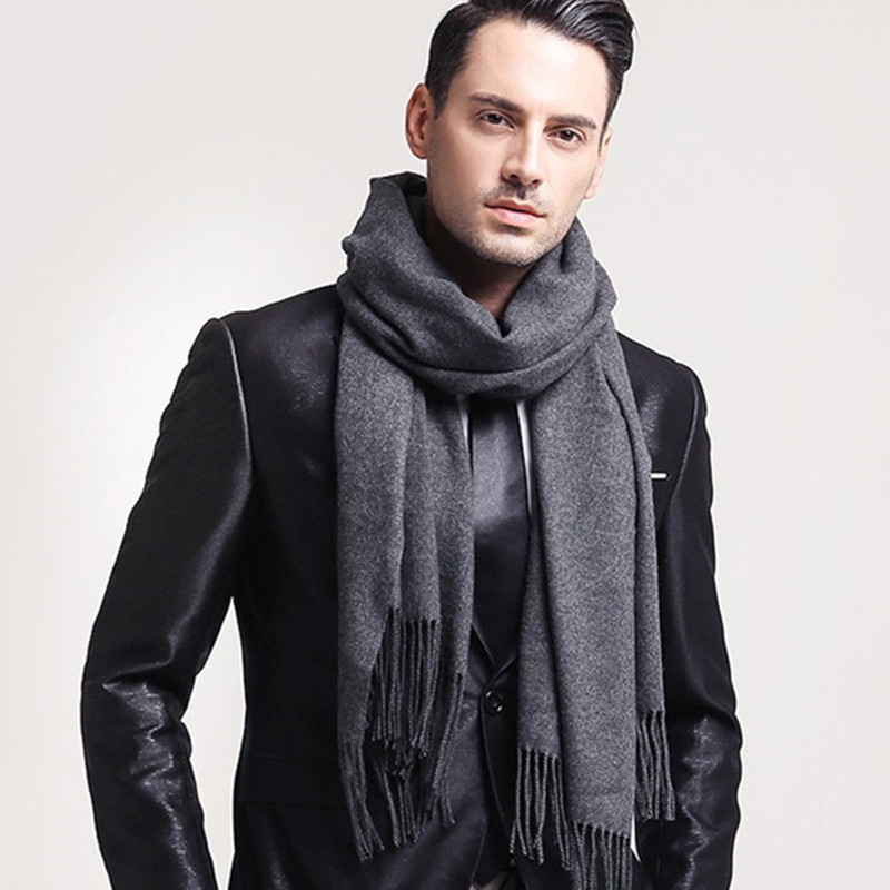 Male Scarves Navy Gray Classic Plaid Faux-Cashmere Elegant Black Winter Women For Red