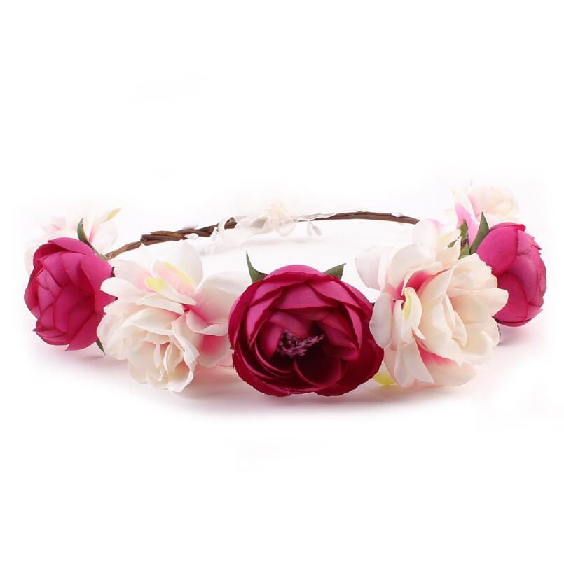 Hot Sale Bohemia Summer Rose Blue Flower Headband Wreath Floral Garland Crown Hair Accessories Forehead Wreath For Women Girl