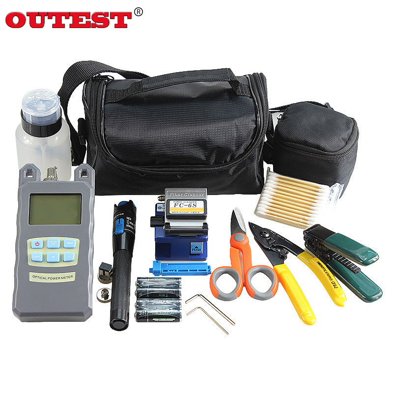 OUTESET Fiber Optic FTTH Tool Kit with FC-6S Fiber Cleaver and Optical Power Meter 5km Visual Fault Locator 1mw Wire stripper