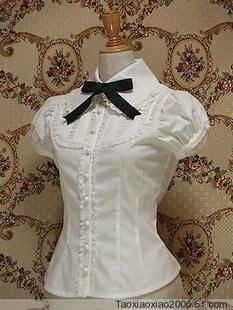 Personnalisé 2018 femmes Lolita hauts chemises d'été blanc à manches courtes noir cravate Blouses Costume pour fille