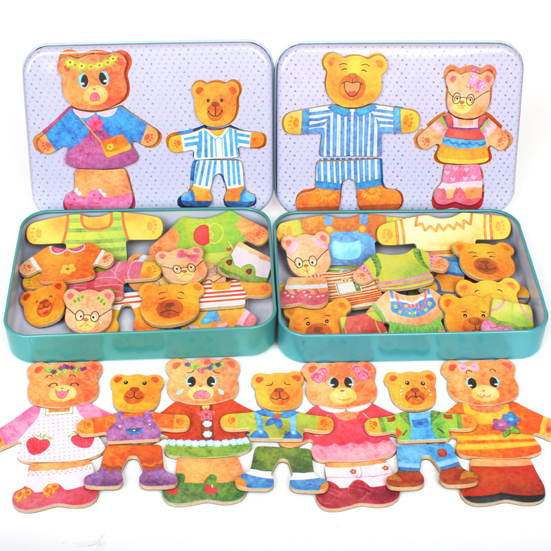 Wooden Puzzles For Children Two Bear Magnetic Puzzles Change Clothes Locker Educational Toys For Kid MG51