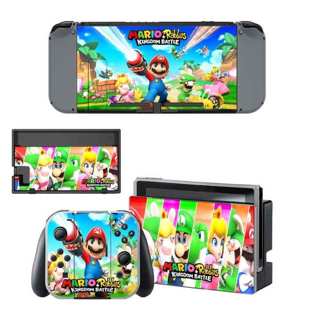 Nintend Switch Vinyl Skins Sticker For Nintendo Switch Console and Controller Skin Set - For Mario + Rabbids: Kingdom Battle 3