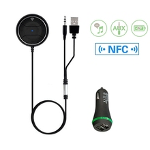 цена на Universal NFC Bluetooth Car Kit AUX Audio Receiver Wireless Bluetooth 4.0 Receiver Hands-free With Mic Dual USB Car Charger