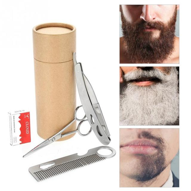 Mustache Facial Hair Care Tool Men Beard Brush Comb Kit Men Mustache Grooming Kit 1