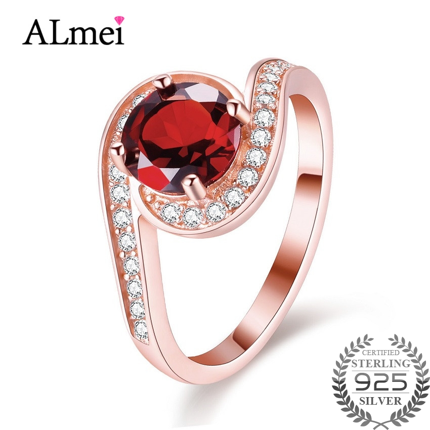 Almei Red Garnet Tested Silver 925 Wedding Rings Rose Gold Color Finger Jewelry Accessary for Women with Gift Box 40% FJ025