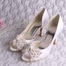 Марка Обуви Из Бисера Высокое Качество Атласные Свадебная Обувь для Леди Обуви Платье
