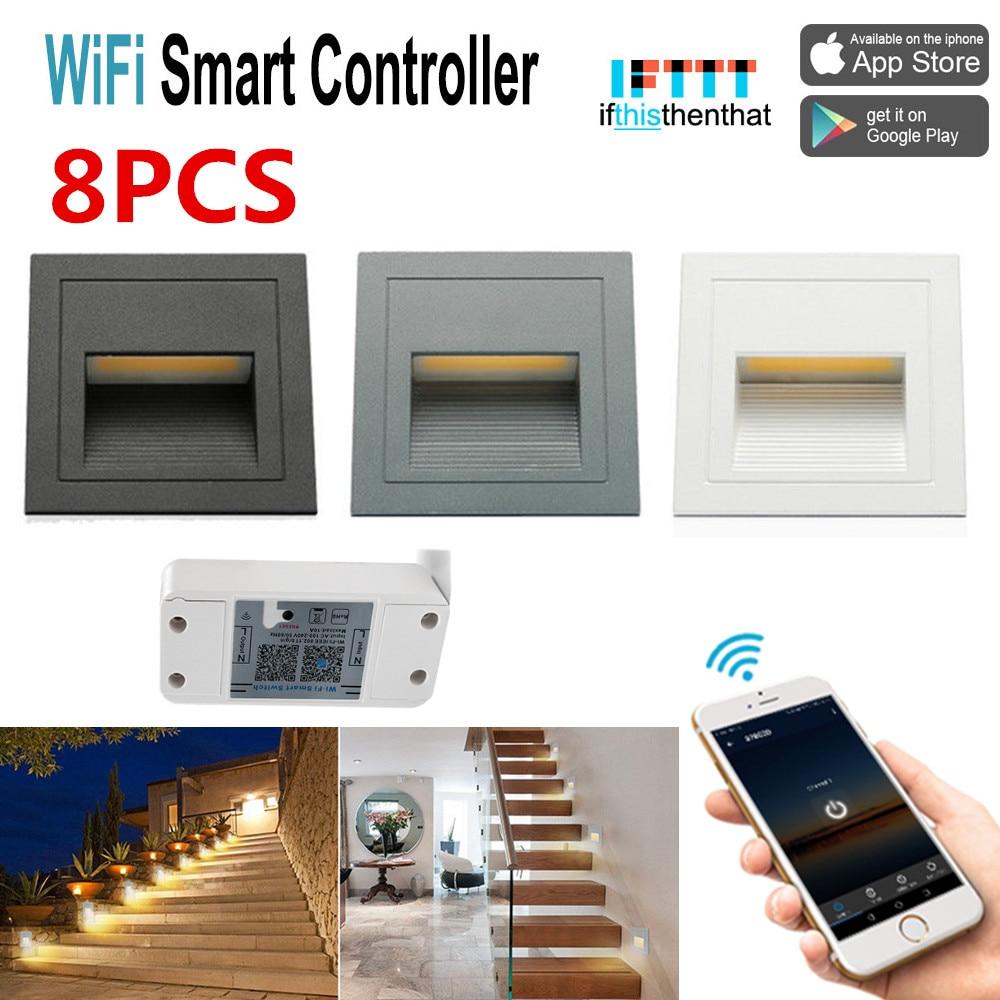 8 XOutdoor 3 W Encastré Mur Plinthe Escalier Lumière Couloir Lampe D'angle + Commutateur WIFI Minuterie Compatible pour Alexa/Google Home/IFTTT