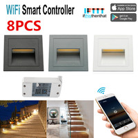 8XOutdoor 3W Recessed Wall Plinth Stair Step Light Corridor Corner Lamp+WIFI Switch Timer Compatible for Alexa/Google Home/IFTTT