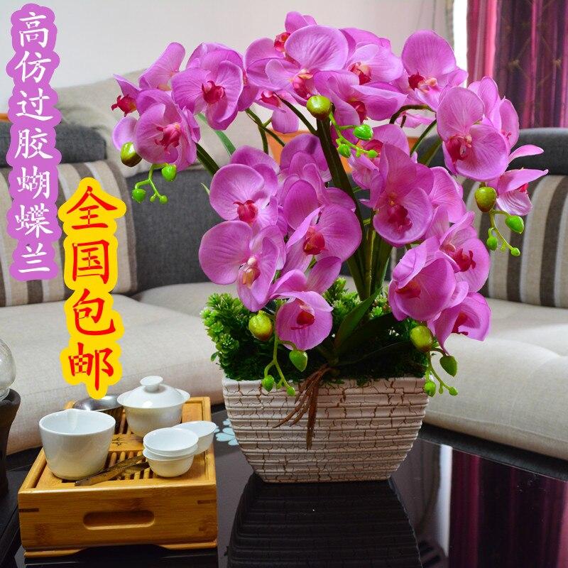 Qualité fleurs artificielles colle phalaenopsis ensemble fleur artificielle soie fleur ceinture vase