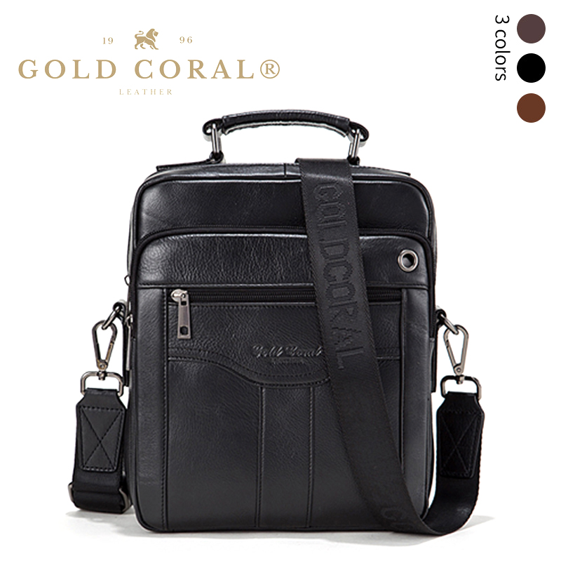 GOLD CORAL Genuine Leather Messenger Bag Men Shoulder Bag iPad Handbags Male Travel Crossbody Bags Tote Purse Business Briefcase mva genuine leather men bag business briefcase messenger handbags men crossbody bags men s travel laptop bag shoulder tote bags