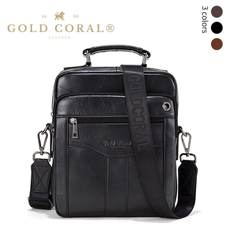 Sac à bandoulière en cuir véritable corail doré pour hommes sac à bandoulière mallette d'affaires sacs à main iPad sacs à main pour hommes
