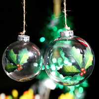 Clear Glass Christmas Ball Ornament Clover With 3 Leaf Transparent Glass Ball Holiday Decoration Christmas Tree