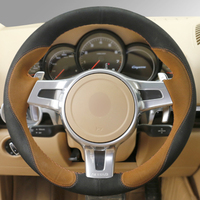 Hand stitched Black Brown Suede Anti slip Car Steering Wheel Cover for Porsche Cayenne Panamera 2012 2013 2014