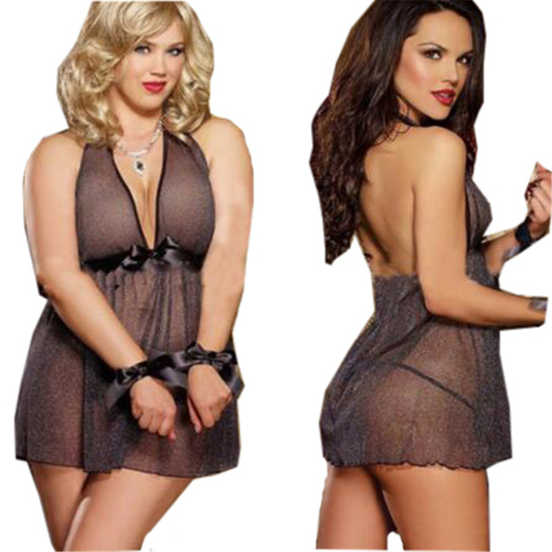 2016 new sexy women lingerie hot sexy costumes bodysuit transparent plus size lingerie set font b