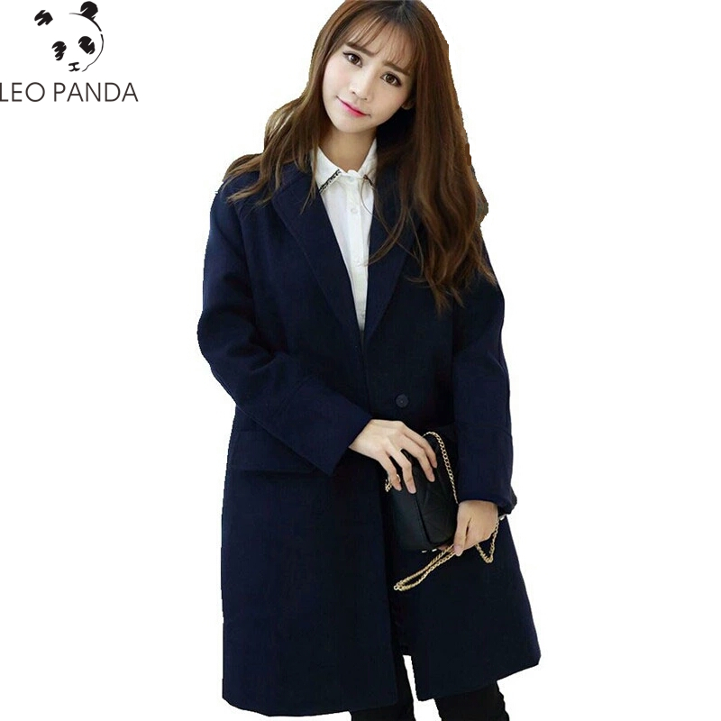 New Fashion Women's Navy Blue Long Coats Autumn Slim Warm Female Outerwear Woolen Solid Color Winter Jackets Big yards LCY286