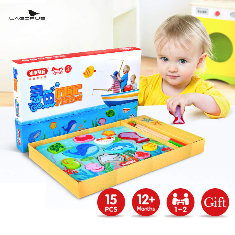 12 Fishes + 2 Fishing Rods Wooden Children Toys Fish Magnetic Play Fishing Game Box Kids Educational Toy Christmas Gift Boy Girl new 14 fishes 2 fishing rods wooden children toys fish magnetic pesca play fishing game tin box kids educational toy boy girl