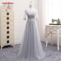 Many Colors Half Sleeve Tulle Lace High Neck Formal Evening Dresses Long Party Evening Gown Elegant robe de soiree DR15