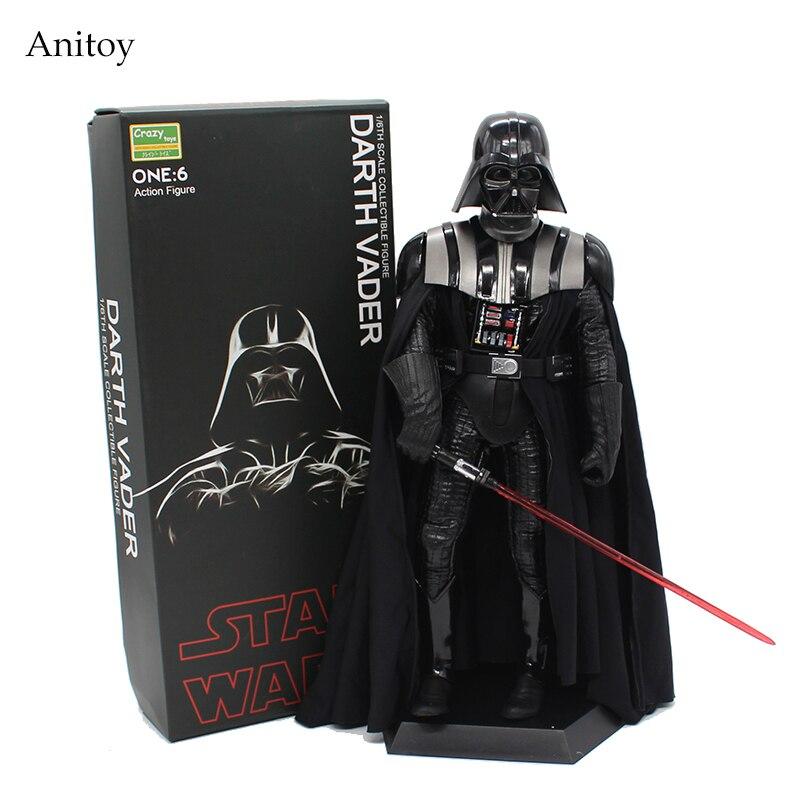 Oyuncaklar ve Hobi Ürünleri'ten Aksiyon ve Oyuncak Figürleri'de Yıldız savaşları Darth Vader çılgın oyuncaklar 1/6 ölçekli PVC Action Figure koleksiyon Model oyuncak 30cm'da  Grup 1