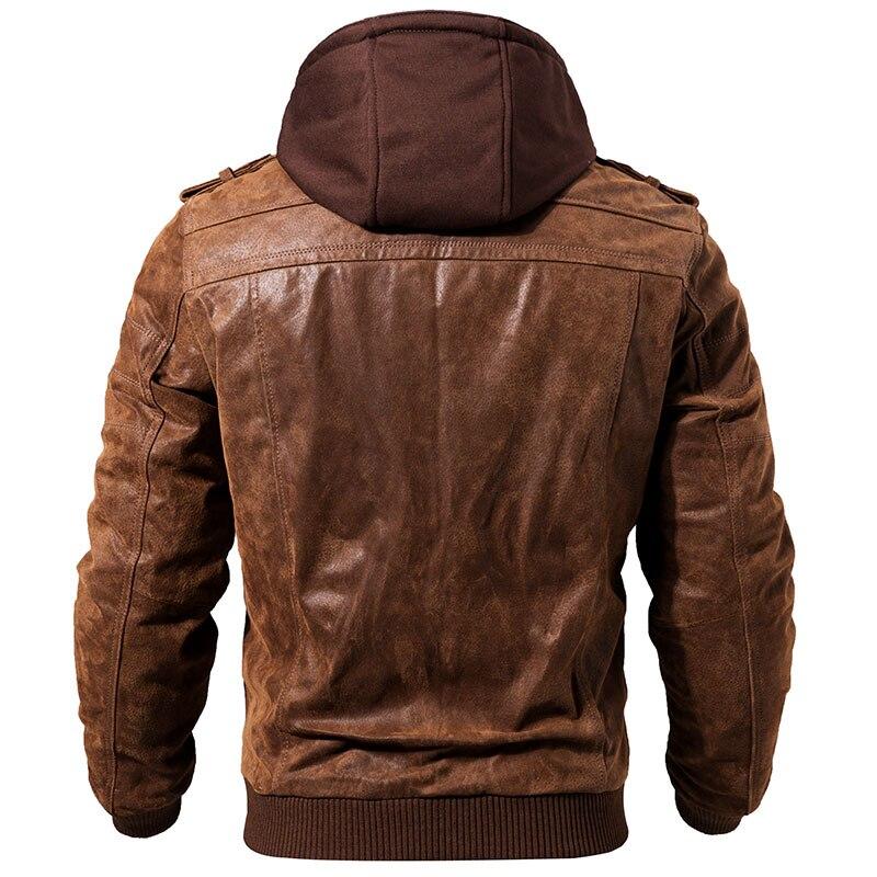 Veste de moto en cuir véritable pour hommes capuche amovible manteau d'hiver pour hommes vestes en cuir véritable chaud - 2