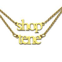 Wholesale Layer Name Necklace Double Chain MINI Name Necklace Gold Color Children Names Necklace Couple Necklace