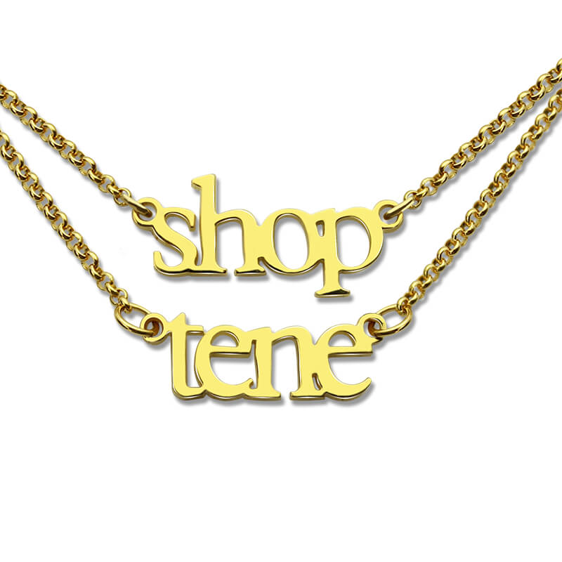 Wholesale Layer Name Necklace Double Chain MINI Name Necklace Gold Color Children Names Necklace Couple Necklace BFF Jewelry gold multi layer necklace sweater chain necklace
