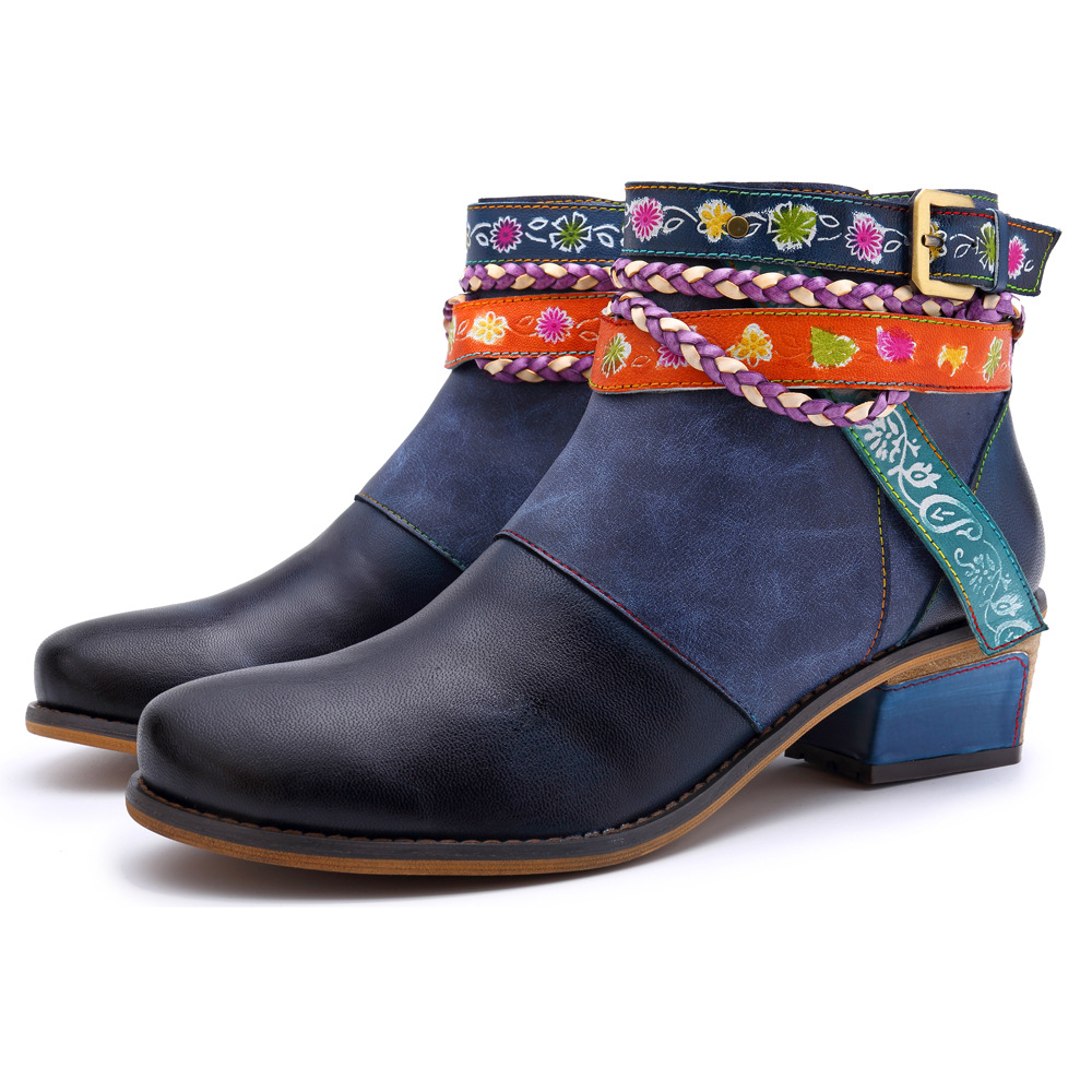 Johnature Vintage 2019 New Genuine Leather Women Boots Ankle Strap Zipper Bohemia Ladies Shoes Woman Flower