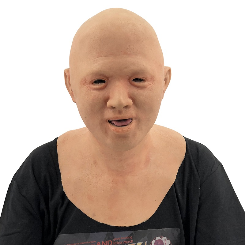 Fancy Dress Costume Terrifyingly Realistic Crossdresser Costumes Like Baby Moving Mouth Silicone Bald Old Man Mask
