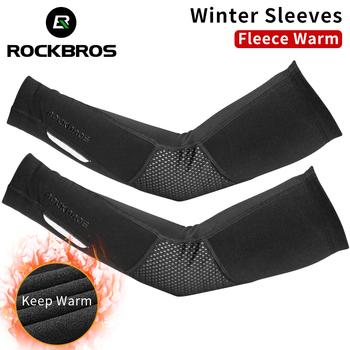 ROCKBROS Winter Fleece ciepłe rękawy naramienne oddychające sportowe ochraniacze na łokcie Fitness Arm Covers kolarstwo bieganie koszykówka ocieplacze na ręce tanie i dobre opinie CN (pochodzenie) 38 5-45 5cm XT019BK LKPJ003 NYLON Winter Sleeves And Leggings Black Men Women Nylon+Spandex