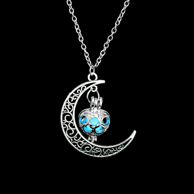 Silver Plated Moon Glowing Bohemian Necklace