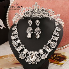 Hot Sale Noble Luxury Water Drop Large Rhinestones Crystal Bridal Jewelry Sets Silver Gorgeous Wedding jewelry sets цена 2017