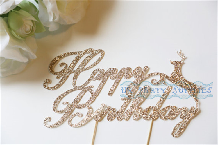 rose gold glitter wedding cake topper happy birthday cake toppers with deer personalized 19276