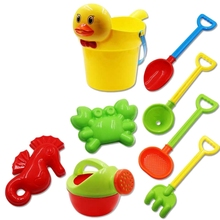 цены Baby Beach Toys Bath Play Set With Ducks Bucket Sand Tool Model Water Game Sand Playing For Kids