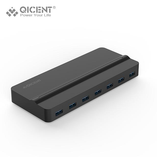 QICENT USB 3.0 SuperSpeed Hub com a Transferência De Dados 7 Portas 30 W (12 V/2.5A) Adaptador De Energia-preto