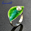Best Gift S925 Sterling Silver Ring Cloisonne Green Leaf Ring Freshwater pearl Ring For Lady