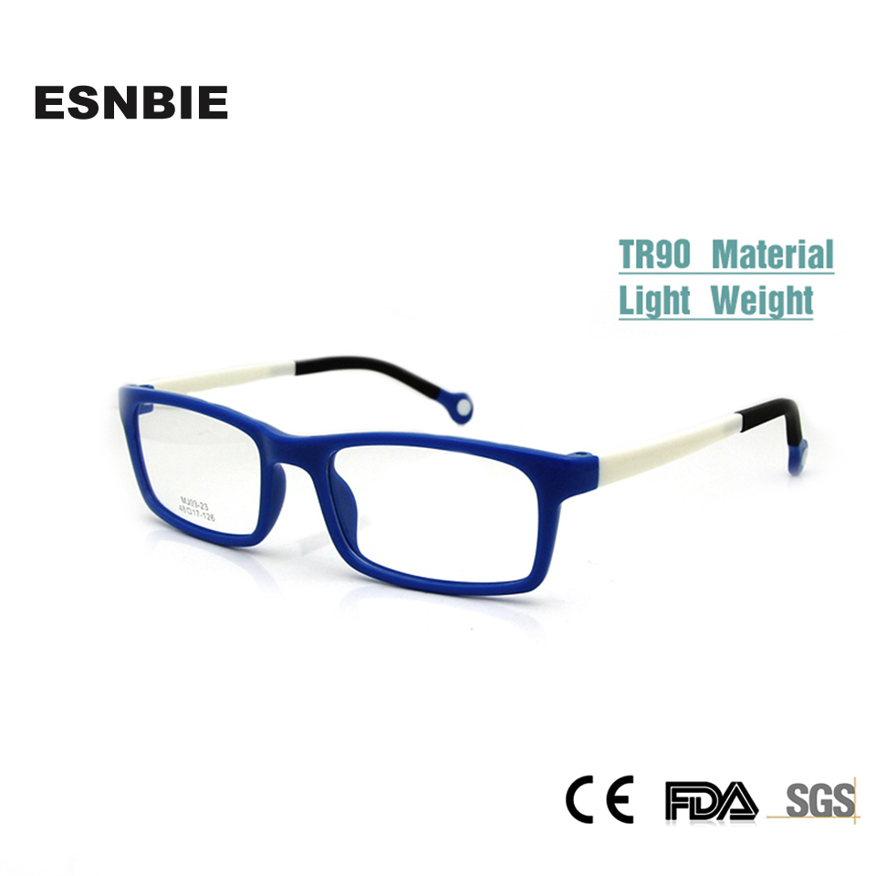 ESNBIE Cool Kids Glasses Rammer Boy Girl Rectangular Kid's Eyeglasses Nerd TR90 Fleksible Barn Plastic Memory Rx Lens